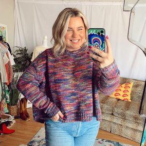 Freeway pink purple rainbow stripe cropped chunky sweater knit